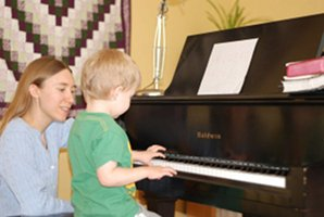 Freya teaching piano